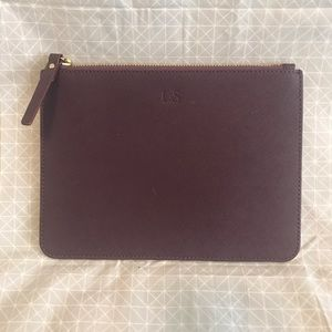 NWOT Lo & Sons Eggplant Saffiano Leather Zip Pouch
